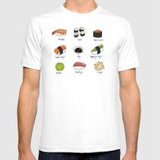 Sushi Days White Mens Fitted Tee SMALL