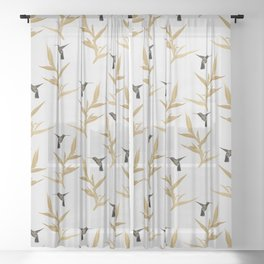 Hummingbird & Flower II Sheer Curtain