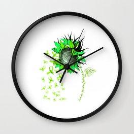 DUCHENNE MUSCULAR DYSTROPHY AWARENESS Sunflower Lime Ribbon T-Shirt Wall Clock