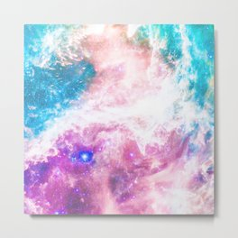 Abstract colorful turquoise pink galaxy nebula Metal Print
