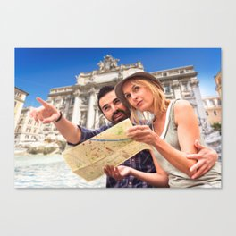 Couple of tourist in Rome  Canvas Print