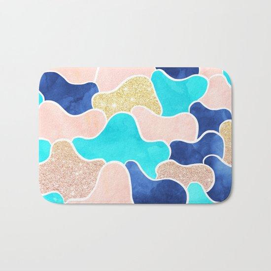 Color block faux gold turquoise pink watercolor Bath Mat