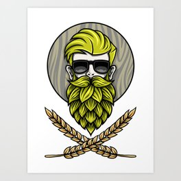 Green Hops Beard - Beer Style - Hops Fashion Art Print