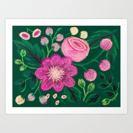 Chalk Flowers - Pink and Green Art Print