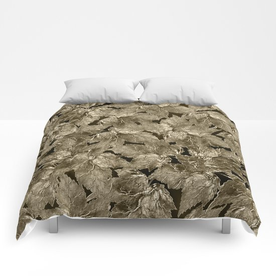 Autumn Leaves - sepia Comforters
