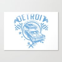 detroit Canvas Prints featuring Detroit by Tshirt-Factory