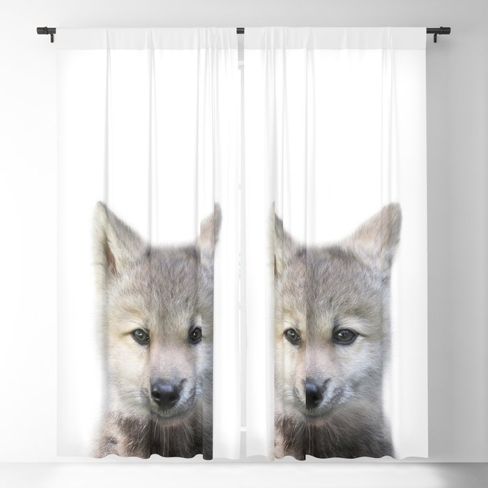 Baby Wolf, Baby Animals Art Print By Synplus Blackout Curtain