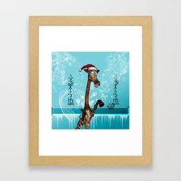 Funny, cute giraffe Framed Art Print