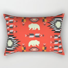 Tribal decor with bears in red Rectangular Pillow