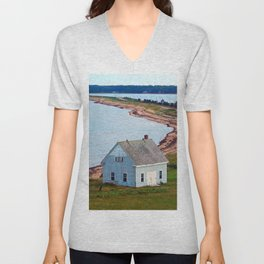 Beach and Causeway, seen from Above Unisex V-Neck