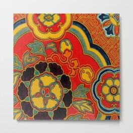 Vintage Japanese Kimono Fabric Pattern Metal Print
