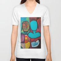 mirror V-neck T-shirts featuring Mirror by MyColorsByCaroStore