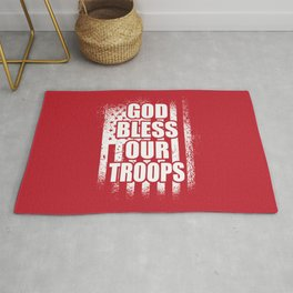 God Bless Our Troops Red Friday Military Rug