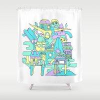 aloha Shower Curtains featuring Aloha by poney-m studio