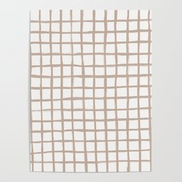 Strokes Grid - Nude on Off White Poster