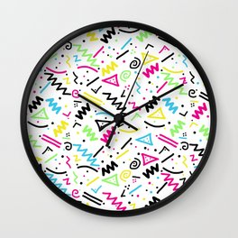Retro 80's 90's Neon Pink Green Blue Yellow Doodle Wall Clock