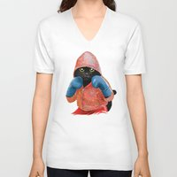 jazzberry V-neck T-shirts featuring Boxing Cat 2  by Tummeow