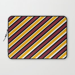 TEAM COLORS 1…Maroon Gold black and white diagonal stripe Laptop Sleeve