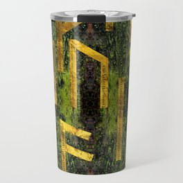 Vintage Gold Runic alphabet on tree bark Travel Mug