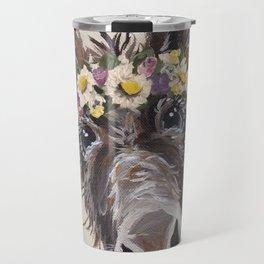 Flower Crown Donkey Art, Neutral Donkey Art, Cute Donkey Art Travel Mug