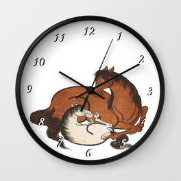 Hokusai – mare and foal, 葛飾 北斎,horse,caballo,equestrian,equine,yegua,potro,japan. Wall Clock