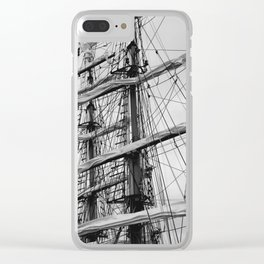Sailing Ship black and white photo 2 Clear iPhone Case