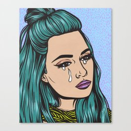 Teal Crying Comic Girl Canvas Print