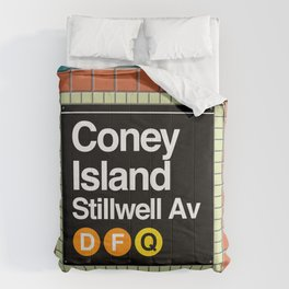 subway coney island sign Comforters