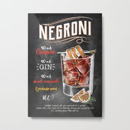 Drinks And Cocktails Negroni Metal Print
