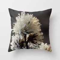 weed Throw Pillows featuring frosty weed by Bonnie Jakobsen-Martin