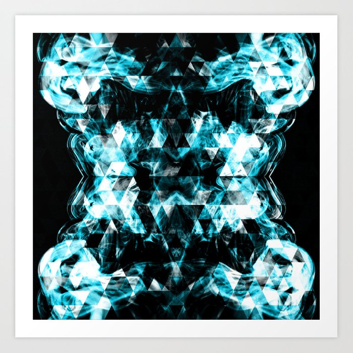 Electrifying blue sparkly triangle flames Art Print