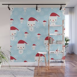 Snowmen and snowflakes Wall Mural