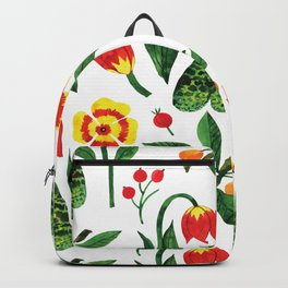 Yellow pink green watercolor tulips pansies pattern Backpack