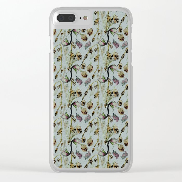 Dead Rose & Snapdragon Pattern Clear iPhone Case
