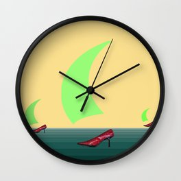 Fleeing from the Desert in May - shoes stories Wall Clock