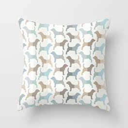 Beagle Silhouettes Pattern - Natural Colors Throw Pillow