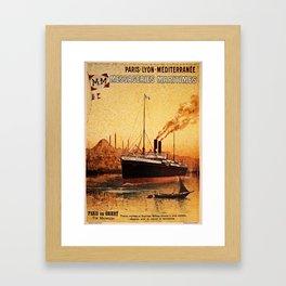 Vintage French Orient Shipping line Paris Mediterranean Framed Art Print