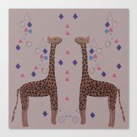 giraffes Canvas Prints featuring Giraffes by Louise Elizabeth