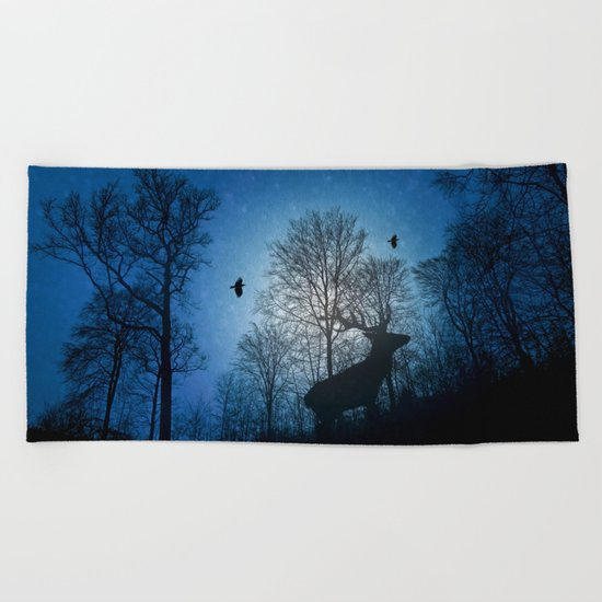 Deer in the snow  Beach Towel