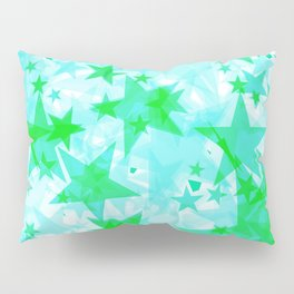 Bright green iridescent stars on a light background in the projection. Pillow Sham
