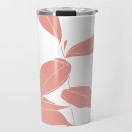 One line plant drawing - Berry Pink Travel Mug