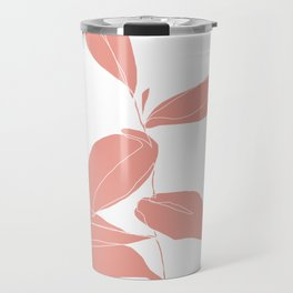 One line plant drawing - Berry Pink Travel Mug