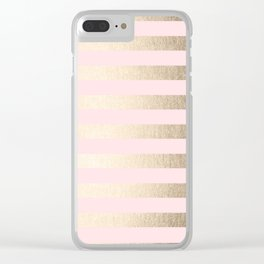 Stripes White Gold Sands on Pink Flamingo Clear iPhone Case