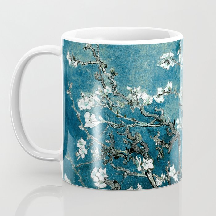 Van Gogh Almond Blossoms : Dark Teal Coffee Mug