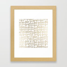 Modern faux gold white minimalist for you typography Framed Art Print