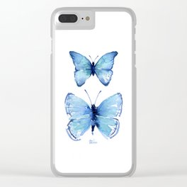 Two Blue Butterflies Watercolor Animals Insects Clear iPhone Case
