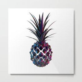 Chrome Pineapple Metal Print