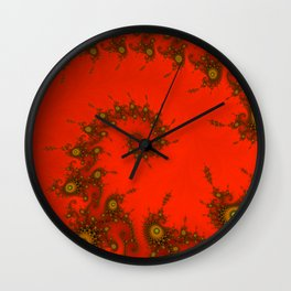 Red fractal. Abstract pattern Wall Clock