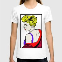 lichtenstein T-shirts featuring Robyn - Roy Lichtenstein Inspired Portrait 2 by Alli Vanes
