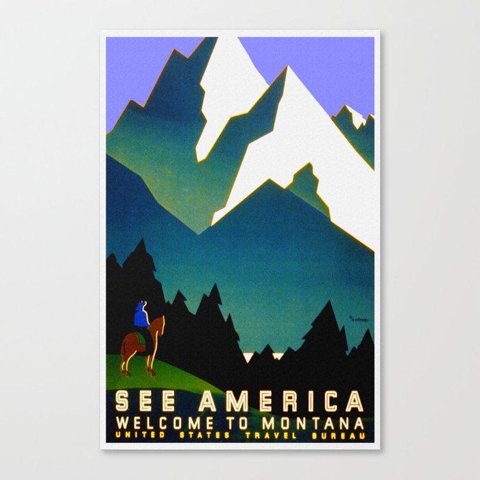 See America Montana - Retro Travel Poster Canvas Print